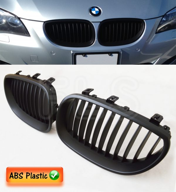 BMW E60 E61 5 SERIES 2003 – 2010 FRONT KIDNEY GRILLE-GRILL MATTE BLACK 100% FIT