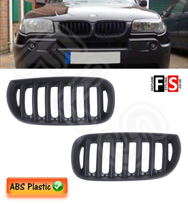 BMW X3 E83 2003 – 2006 FRONT KIDNEY GRILLE – ABS PLASTIC – MATTE BLACK