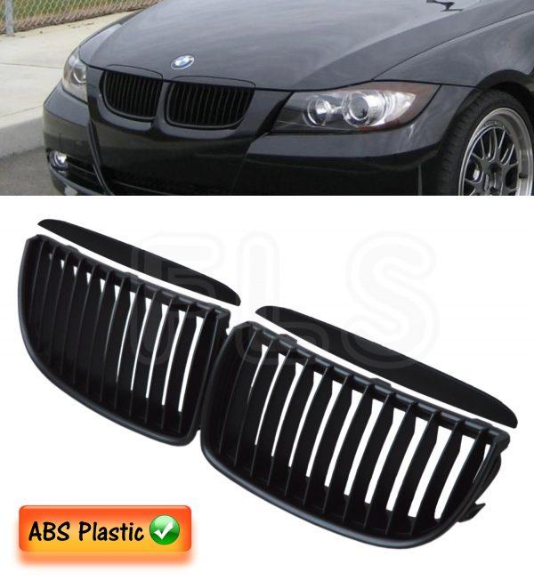 BMW E90 E91 3 SERIES 2005-2008 KIDNEY GRILLE-MATTE BLACK BODY KIT BUMPER 100% FIT