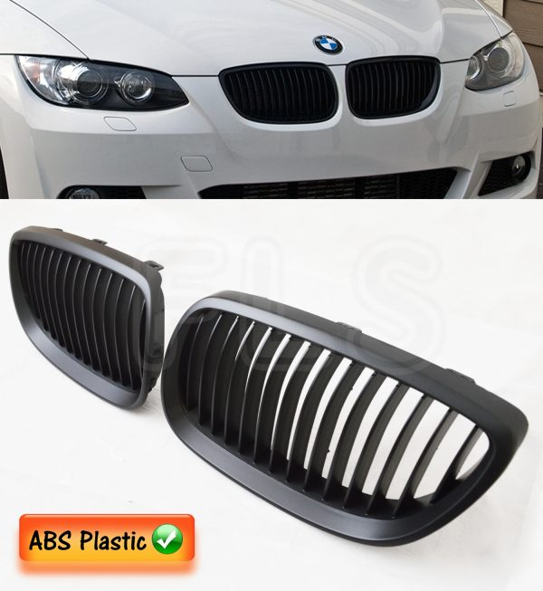 BMW E92 E93 3 SERIES 05-09 KIDNEY GRILLE – MATTE BLACK COUPE CONVERTIBLE AND M3