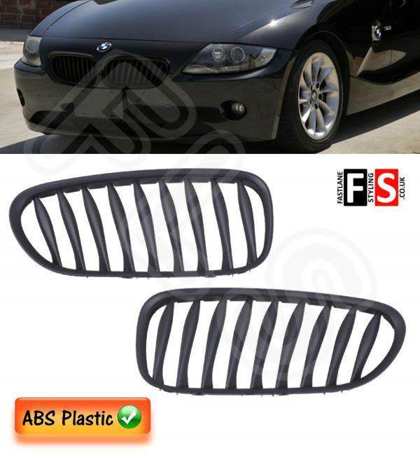 BMW Z4 E85/E86 2003-2008 FRONT KIDNEY GRILLES-ABS PLASTIC-MATTE BLACK OEM FIT