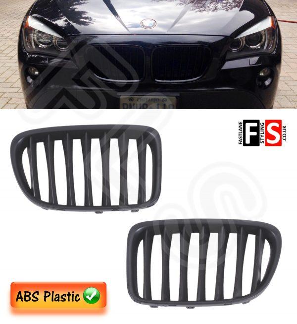 BMW X1 E84 2009 – 2015 FRONT KIDNEY GRILLES – ABS PLASTIC – MATTE BLACK