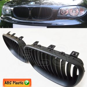 BMW 1 SERIES E81/82/87/88 LCI 08ON 2&4D FRONT KIDNEY GRILLES MATTE BLACK M SPORT