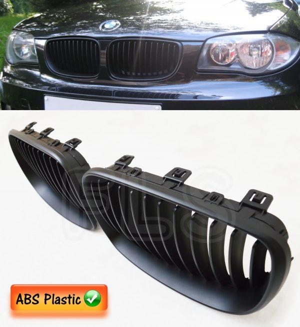BMW 1 SERIES E81/82/87/88 LCI 08ON 2&4D FRONT KIDNEY GRILLES MATTE BLACK M SPORT