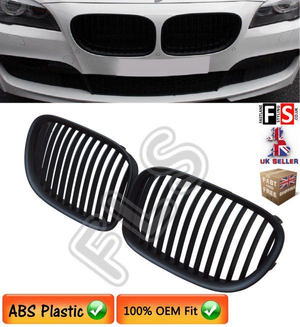 BMW 7-SERIES F01 F02 F03 F04 2008 – 2014 KIDNEY GRILLES – ABS – MATTE BLACK