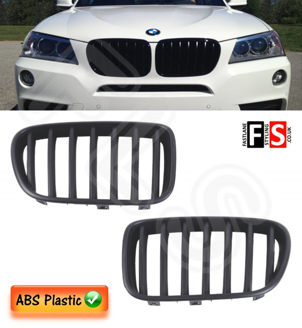 BMW X3 F25 2010 – 2013 KIDNEY GRILLE – PRE FACE LIFT – ABS – MATTE BLACK