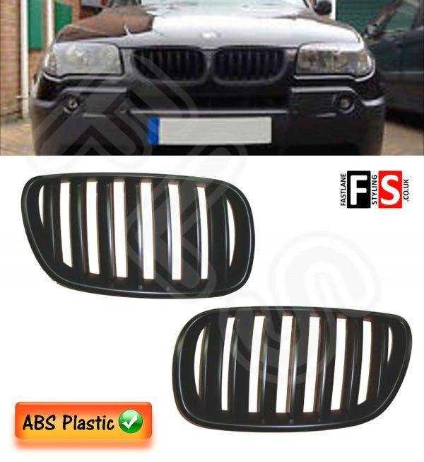 BMW E83 X3 LCI JULY 2006 – 2010 FACELIFT KIDNEY GRILLES – ABS – MATTE BLACK