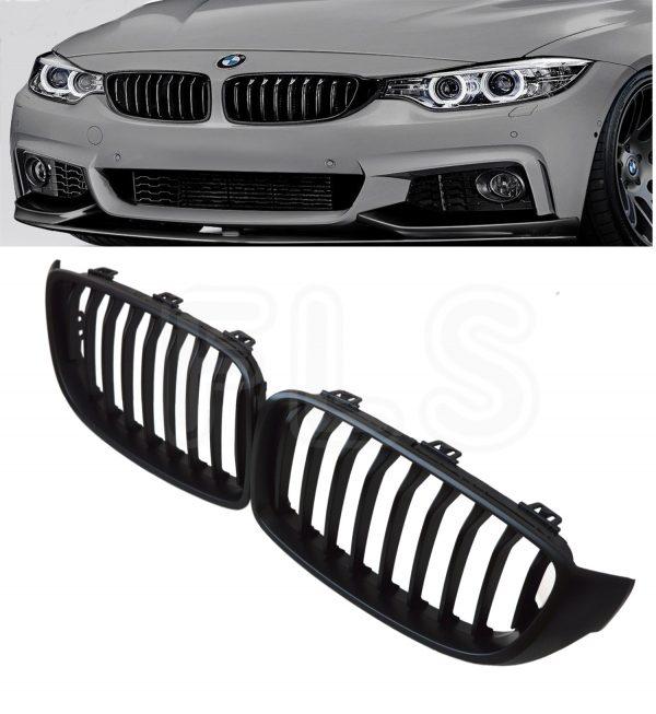 BMW 4 SERIES F32/33/36 2014ON FRONT GRILLES KIDNEY GRILLE MATTE BLACK 100%OEMFIT