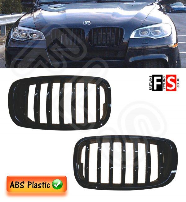 BMW E70/E71 X5/X6 LCI 2007-2013 FACE LIFT KIDNEY GRILLES-ABS-GLOSS BLACK OEM FIT