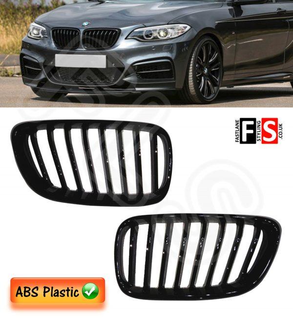 BMW F22/F23 2-SERIES 118 220 228 M235i 2013-ON KIDNEY GRILLES GLOSS BLACK OEM FIT
