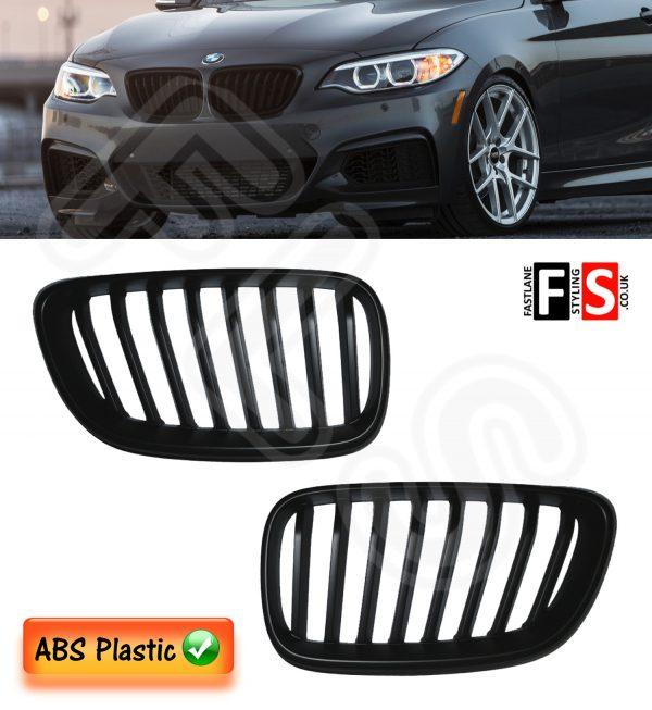 KIDNEY GRILLES FOR BMW F22/F23 2-SERIES 118d 220 228 M235i 2013-ON MATTE BLACK
