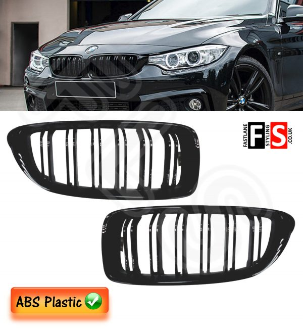 BMW 4 SERIES F32 F33 F36 M4 STYLE FRONT KIDNEY GRILLE OEM FIT 2014 + GLOSS BLACK