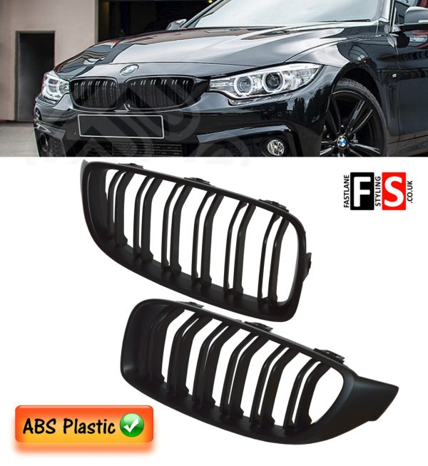 BMW 4 SERIES F32 F33 F36 M4 STYLE FRONT KIDNEY GRILLE OEM FIT 2014 + MATTE BLACK