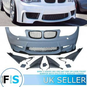 BMW 1 SERIES 1M LOOK FRONT BUMPER WITH SPLITTER WASHER COVERS