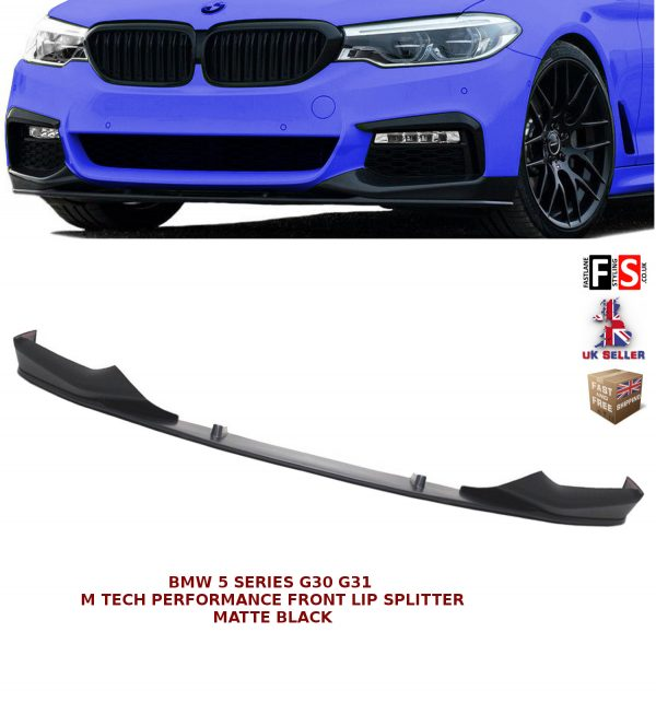 BMW 5 SERIES G30 G31 M SPORT FRONT DIFFUSER SPLITTER LIP SPOILER MATTE BLACK 16+