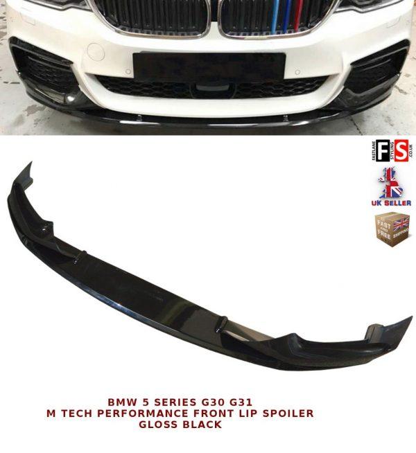 BMW 5 SERIES G30 G31 M SPORT FRONT DIFFUSER SPLITTER LIP SPOILER GLOSS BLACK 16+
