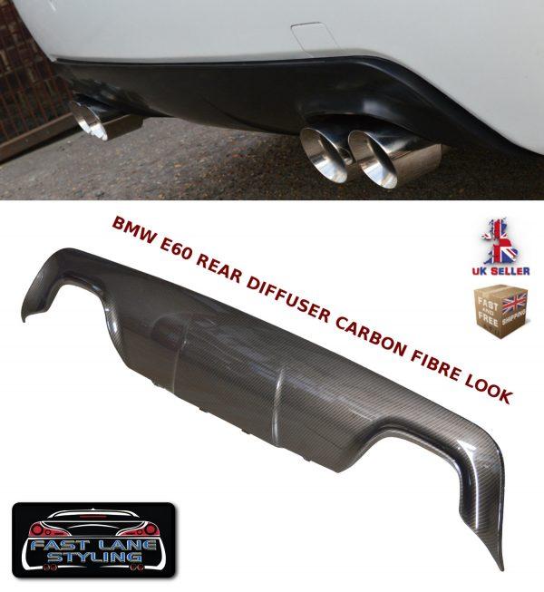 BMW 5 SERIES E60 E61 M SPORT REAR BUMPER DIFFUSER SPLITTER VALANCE CARBON FIBRE
