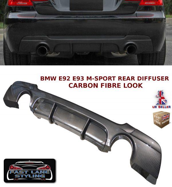 BMW 3 SERIES E92 E93 335 MSPORT REAR DIFFUSER SPLITTER VALANCE CARBON FIBRE LOOK