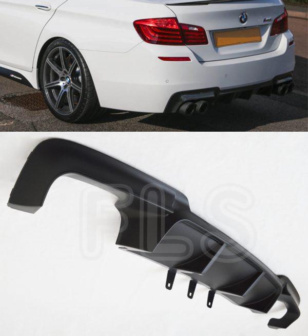 BMW 5 SERIES F10 F11 QUAD EXHAUST REAR DIFFUSER M SPORT BUMPER SPLITTER VALANCE