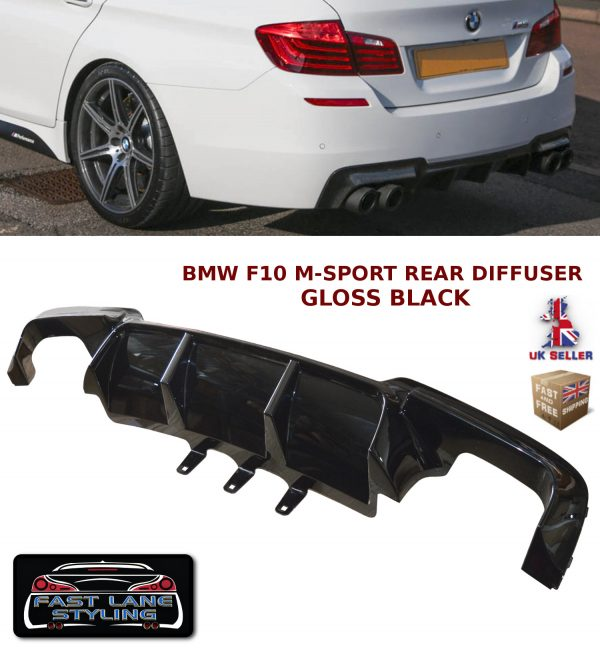 BMW 5 SERIES F10 F11 REAR BUMPER DIFFUSER MSPORT SPLITTER VALANCE GLOSS BLACK