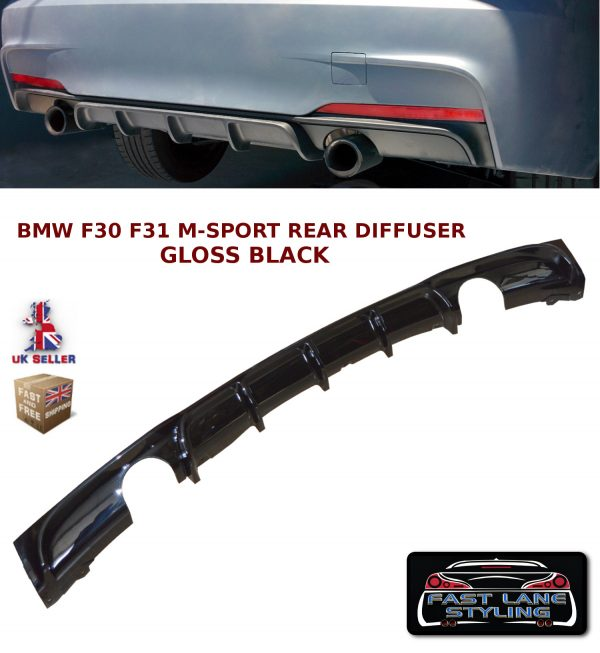 BMW 3 SERIES F30 F31 M PERFORMANCE REAR DIFFUSER SPLITTER VALANCE GLOSS BLACK