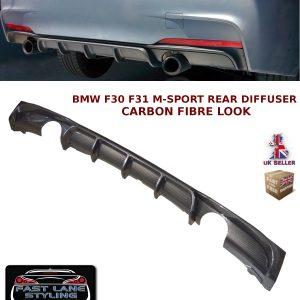 BMW 3 SERIES F30 F31 MSPORT PERFORMANCE REAR DIFFUSER VALANCE CARBON FIBRE LOOK