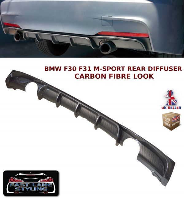 BMW 3 SERIES F30 F31 MSPORT PERFORMANCE REAR DIFFUSER VALANCE CARBON FIBRE LOOK