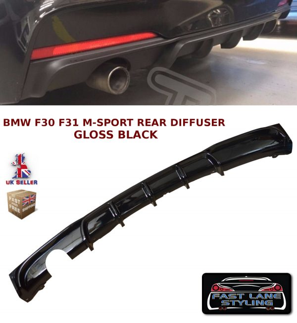 BMW 3 SERIES F30 F31 M SPORT M PERFORMANCE REAR BUMPER DIFFUSER GLOSS BLACK