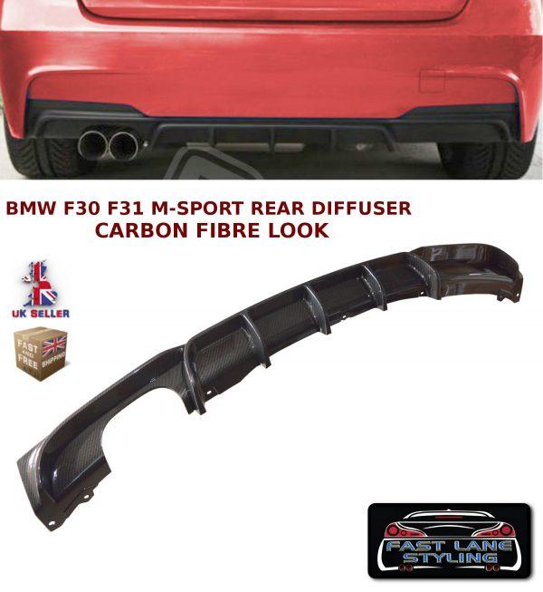 BMW 3 SERIES F30 F31 MSPORT M PERFORMANCE REAR BUMPER DIFFUSER CARBON FIBRE LOOK