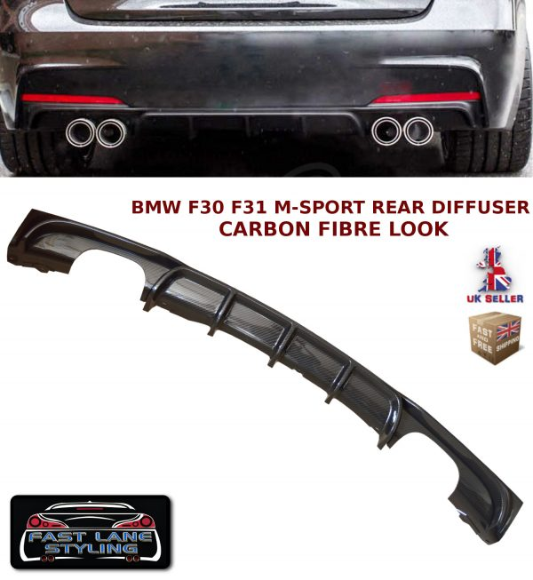 BMW 3 SERIES F30 F31 MSPORT PERFORMANCE QUAD REAR DIFFUSER SPLITTER CARBON FIBRE