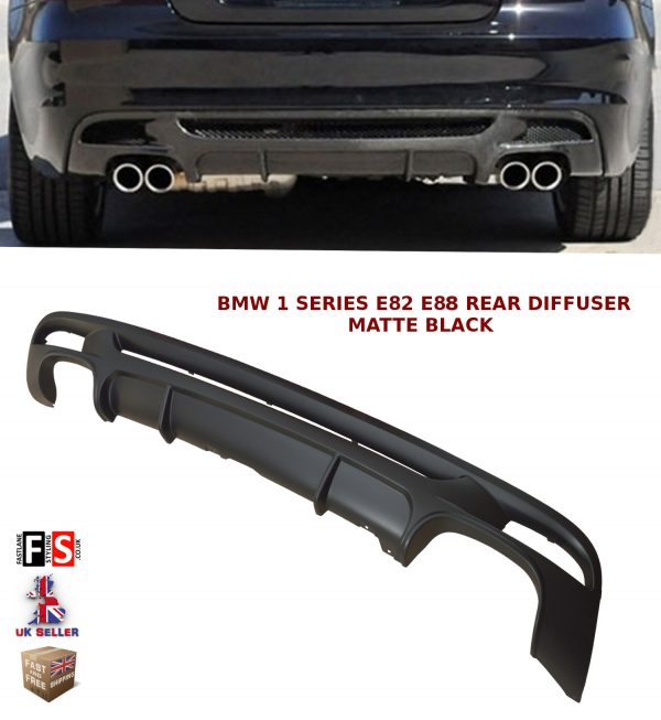 BMW 1 SERIES E82 E88 M PERFORMANCE DUAL REAR BUMPER DIFFUSER VALANCE MATTE BLACK