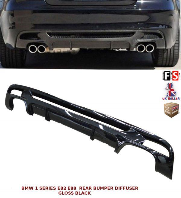 BMW 1 SERIES E82 E88 M PERFORMANCE DUAL REAR BUMPER DIFFUSER GLOSS BLACK