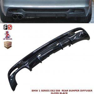 BMW 1 SERIES E82 E88 M PERFORMANCE TWIN REAR BUMPER DIFFUSER VALANCE GLOSS BLACK