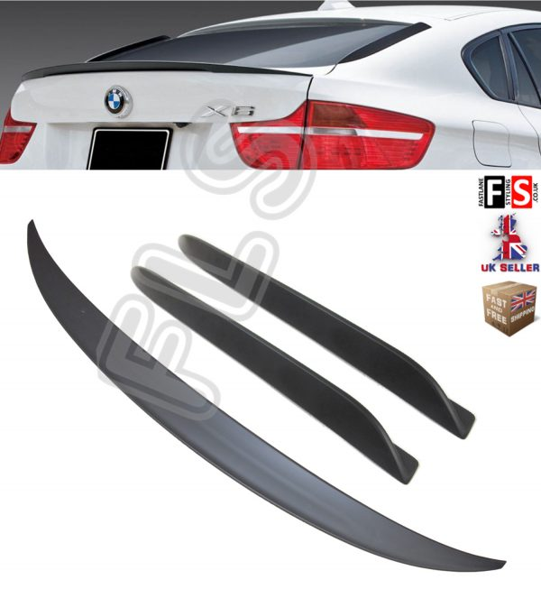 BMW X6 E71 M PERFORMANCE REAR BOOT TRUNK SPOILER + FIN SPOILER 08-14 MATT BLACK