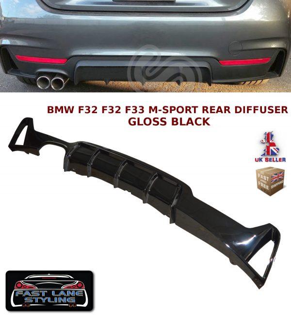 BMW 4 SERIES F32 F33 F36 PERFORMANCE M SPORT REAR DIFFUSER VALANCE GLOSS BLACK