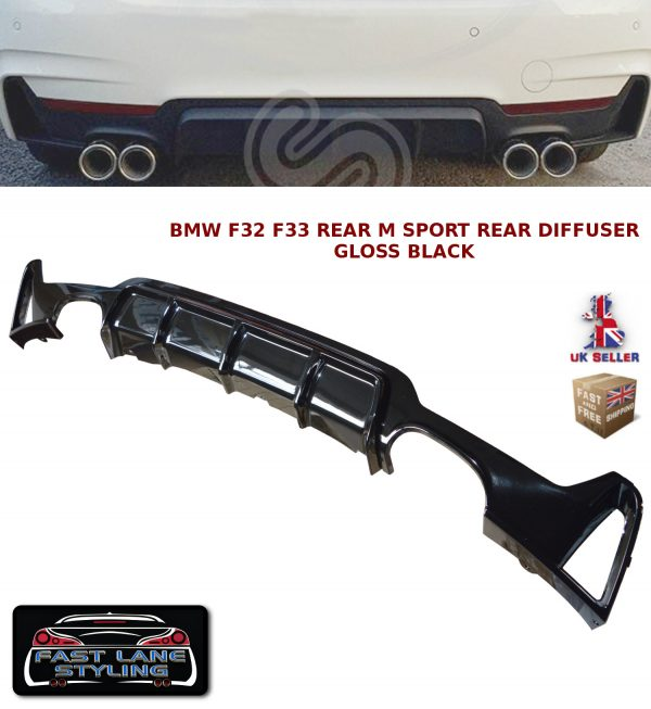 BMW F32 F33 F36 4 SERIES PERFORMANCE M SPORT REAR DIFFUSER VALANCE GLOSS BLACK