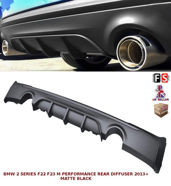 BMW 2 SERIES F22 F23 M-SPORT PERFORMANCE DUAL REAR DIFFUSER VALANCE MATTE BLACK