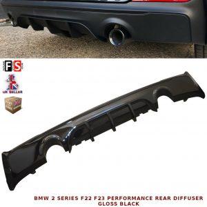 BMW 2 SERIES F22 F23 M-SPORT PERFORMANCE DUAL REAR DIFFUSER VALANCE GLOSS BLACK