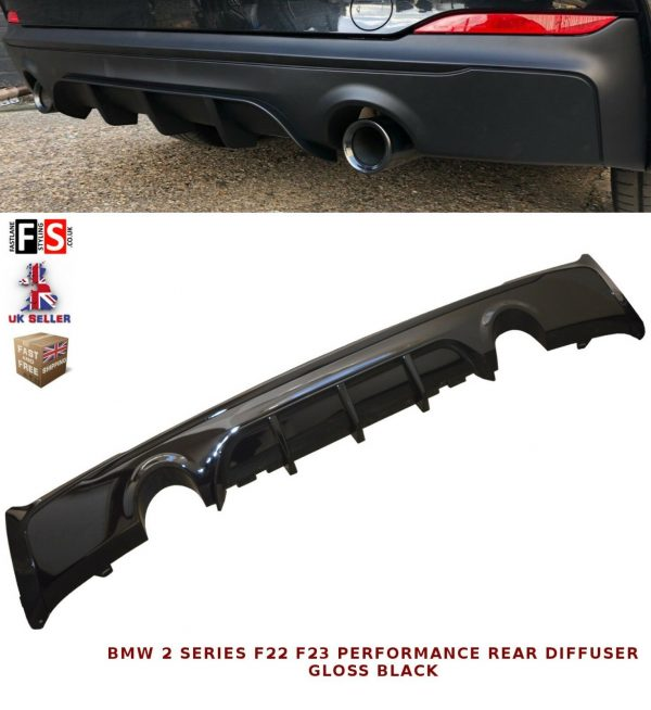 BMW 2 SERIES F22 F23 M-SPORT PERFORMANCE DUAL REAR DIFFUSER VALANCE GLOSS BLACK