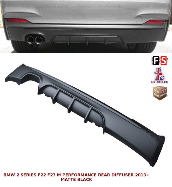 BMW 2 SERIES F22 F23 M-SPORT PERFORMANCE TWIN REAR DIFFUSER VALANCE MATTE BLACK