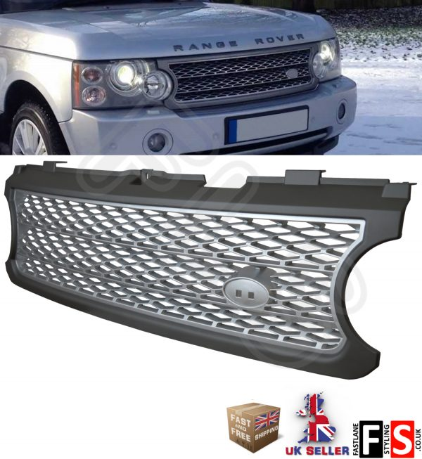 RANGE ROVER L322 VOGUE SUPERCHARGED 06-09 FRONT GRILLE – GREY SILVER