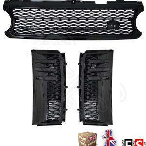 RANGE ROVER VOGUE L322 SUPERCHARGED 06-09 FRONT GRILLE & SIDE VENTS ALL BLACK
