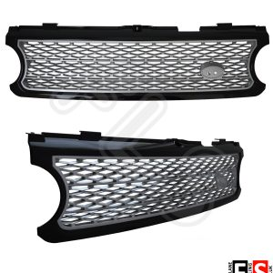 RANGE ROVER VOGUE L322 SUPERCHARGED 06-09 FRONT GRILLE & SIDE VENTS BLACK/SILVER