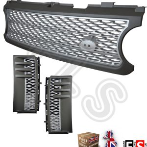 RANGE ROVER L322 VOGUE SUPERCHARGED 06-09 FRONT GRILLE & SIDE VENTS GREY/SILVER