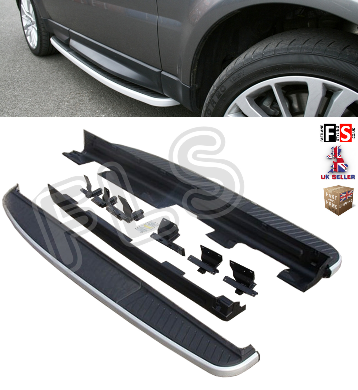 DEFENDER 90 SIDE STEPS RUNNING BOARDS OEM FIT NEW BLACK EDITION