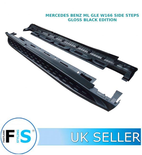 MERCEDES ML GLE W166 SIDE STEPS RUNNING BOARDS GLOSS BLACK