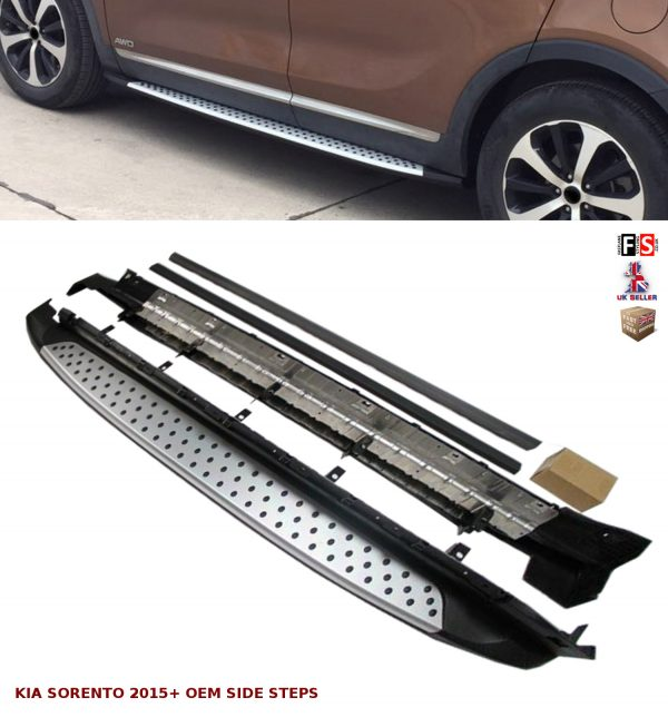 KIA SORENTO SIDE STEPS RUNNING BOARDS NEW STYLE 100% OEM FIT 2015 ONWARDS