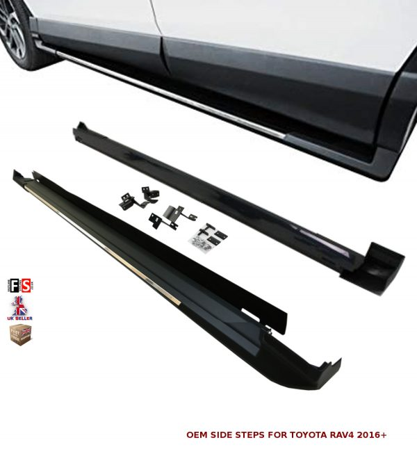 TOYOTA RAV4 SIDE STEPS RUNNING BOARDS NEW STYLE 100% OEM FIT 2016 ONWARDS