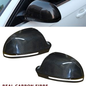 AUDI A4 B8 S4 REPLACEMENT MIRROR COVER PAIR CARBON FIBRE WITH SIDE ASSISTS LIGHT