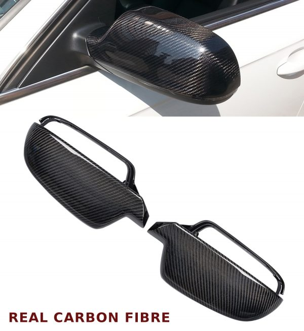 AUDI A5 S5 REPLACEMENT WING MIRROR COVER PAIR CARBON FIBRE WITHOUT SIDE ASSIST